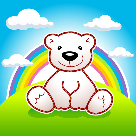 Toy bear sitting on meadow under rainbow and clouds vector logo. Animated bear. Ad or illustration for toys shop or book of tales. Greeting card for Teddy holidays design concept.