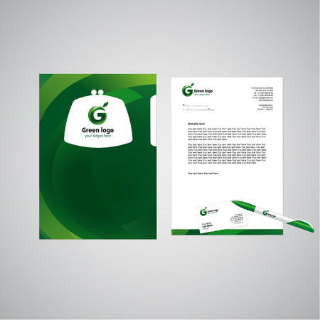 corporative: Template of corporative style concept. Company brandbook elements in green design. Vector set of business or office objects with branding. File, document, letter blank and business card.