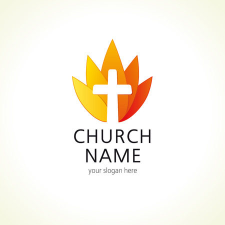 bible flower: Cross on fire christian church logo. Vector icon for churches, christian organizations, bible colleges and conferences. Fire sign in a shape of water lily flower.