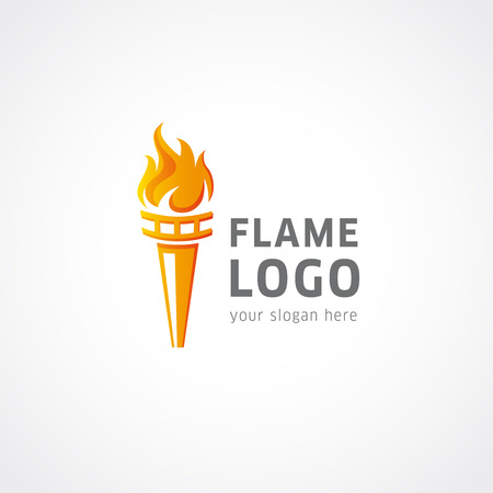 Flaming torch vector logo. Sport fire sign. Competitions, union, club or confederacy icon. Illustration