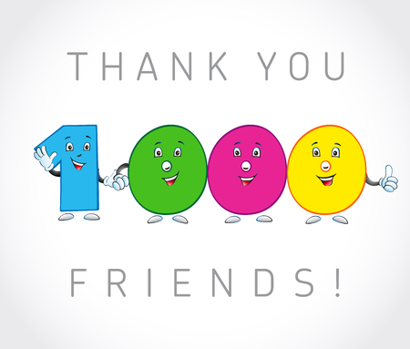 Thank you 1000 followers card. The vector thanks symbol for internet network friends with colored cartoon numbers. Animated smiling digits.