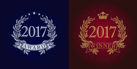 actress: Awards 2017 vintage logo. The sign of winner for competitions 2017 in frame of the laurel branches arms. Best seller, film, actor, actress, writer, artist or journalist in new year reward symbol. Illustration