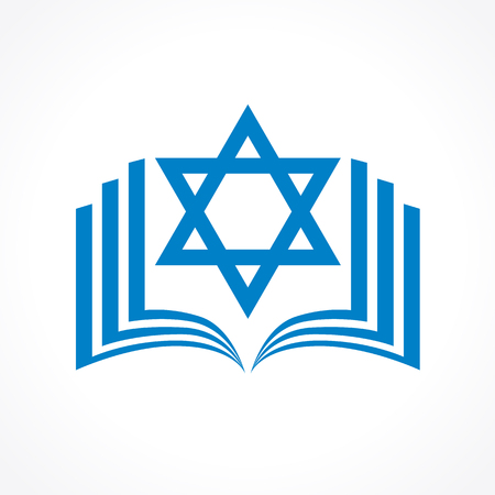 Online torah or tanakh vector logo. Open book with david star clipart icon. Computer software or phone application educational studying sign. Network user jewish avatar