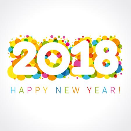 2018 新年あけましておめでとうございます colorul 番号。ハッピー ホリデー カード ベクトル図 2018 色ブリスターとあいさつ文新年あけましておめでと