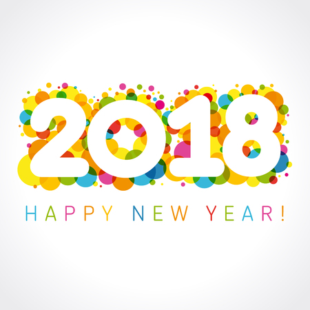 2018 Happy New Year colorul numbers. Happy holidays card with vector figures 2018 on colored blister and greeting text Happy New Year! Illustration