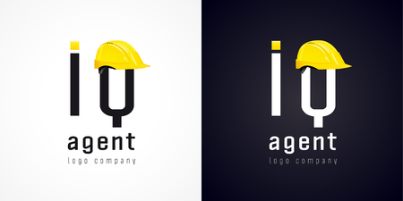 iq: Sign of high-tech development company. IQ agent vector logo. Repair of computers and software service business icon. Sys admin of webpage symbol with building hat element. Construction helmet.