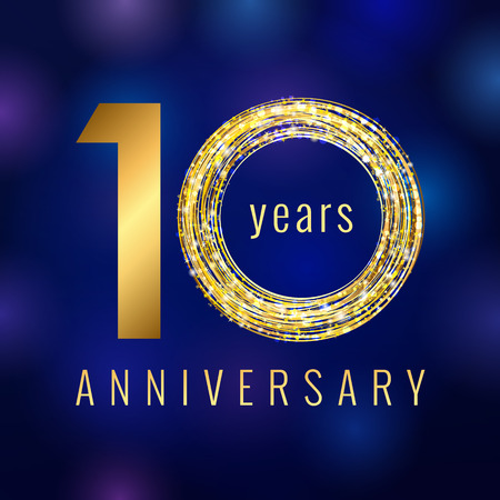 Anniversary 10 years number golden vector logo. Birthday greeting card with shining holiday icon on the blue abstract background. Business success stock sign. Celebration event symbol