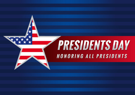 Presidents day USA star banner. Happy Presidents vector background template with star in national flag colors Vettoriali