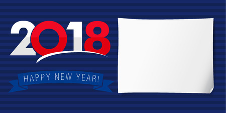 new england: Happy new year banner 2018. Design invitation of Happy New Year 2018 vector background template with USA or England national flag colors Illustration