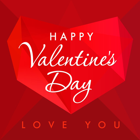 facet: Happy Valentines day love you red card. Happy Valentines day lettering on the background with vector red facet heart on dark red shape background. Falling in love vintage picture