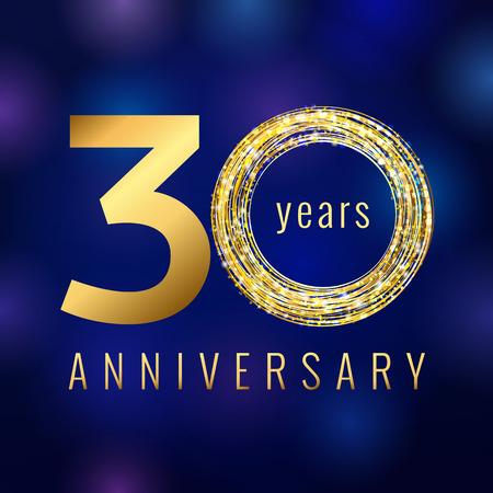 周年記念 30 年数ゴールド色ベクトルのロゴ。30 年間アイコンをシャイニング ・ ブルーの抽象的な背景とカラフルなグリーティング カード。ビジネ