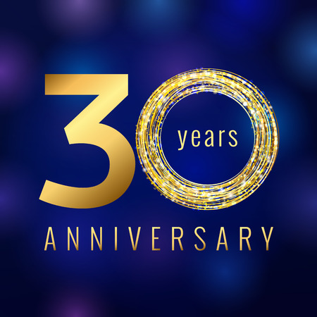Anniversary 30 year number gold colored vector logo. Thirty years colorful greeting card with shining icon on blue abstract background. Business, fashion stock lighting sign. Celebration event symbol.