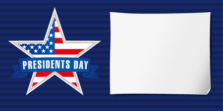 Presidents day USA poster. Happy Presidents Day vector background template with star in national flag colors