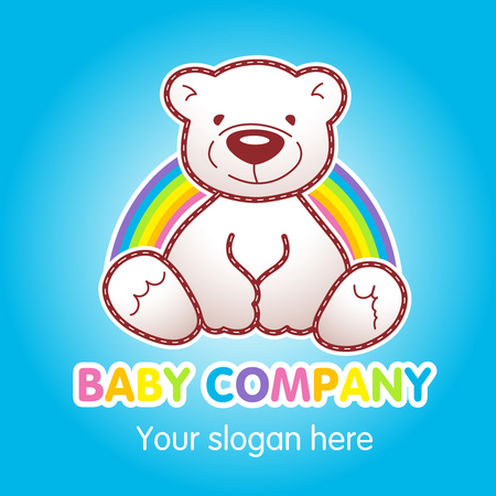 Goods for kids top store vector logo. Toy animated baby bear sitting under rainbow. Toys shop ad, book of tales character. Greeting card for Teddy holidays concept. Childrens store branding sign