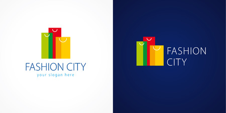 sopping: Fashion city logo. Template logo for the shopping center in the shape of high-rise buildings of colorful bags. Online fashion store sign, shop and gifts symbol. Set of colored sopping packages.