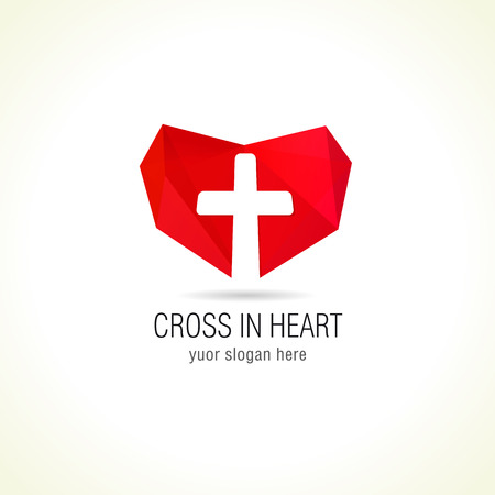 missionary: Cross and heart of faith christian church vector logo. Missionary or charity icon. Religious or hospital symbol. Protection in medicine, help or safety sign.