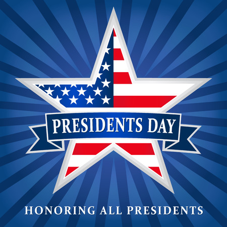 Presidents day USA star ribbon dark blue. Lettering Presidents Day and Honoring all presidents vector banner, USA flag on background in star Illustration