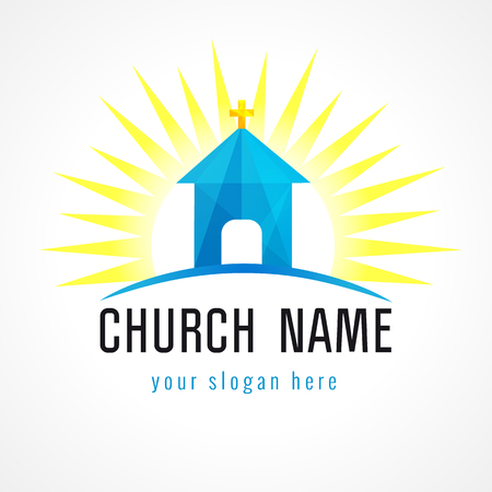 missionary: Church in sun light vector logo. Missionary icon. Template symbol for churches, events and christian organizations. Church house on hill blue facet sign.