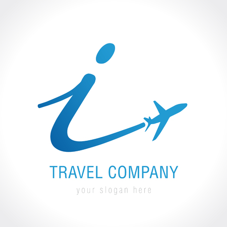 I innovation travel company logo. Airline innovation business travel logo design with letter i vector template Çizim