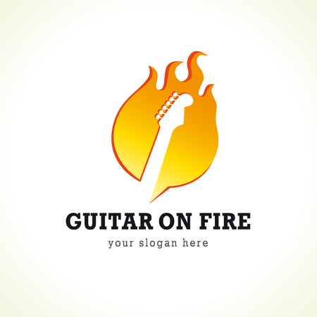 Rock concert vector logo. Guitar on fire. Rock band symbol. Electric guitar fretboard in flame. Art events and tours symbol.