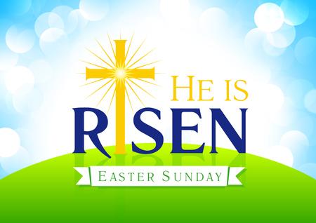 È risorto. Pasqua domenica, settimana santa, scheda di vettore. saluti delle vacanze felici di Gesù che sale. Modello per l'invito, flyer design. Croce sulla collina nella luce del sole. Simbolo religioso.