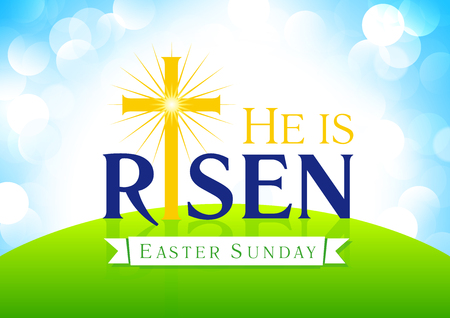 Él ha resucitado. Domingo de Pascua, semana santa, tarjeta de vector. Feliz día de fiesta saludos de Jesús levantándose. Plantilla para invitación, diseño de flyer. Cruz en la colina con la luz del sol. Símbolo religioso.