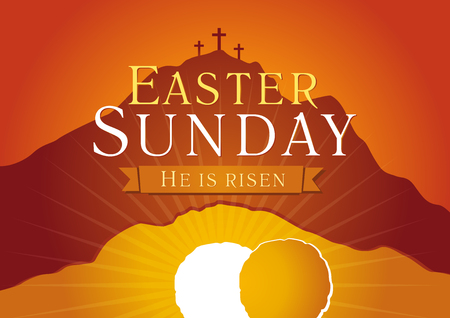 Easter Sunday, He is risen. Greetings, invite vector card. Calvary sunrise with three crosses, open lighting empty cave and stone. Religious symbol. Holy week flyer template. Bible story illustration. Reklamní fotografie - 70776221