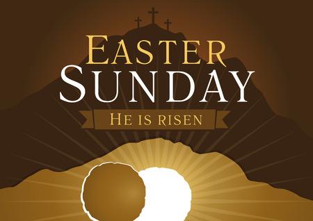 復活祭の日曜日、彼は上昇しています。挨拶、招待ベクトル カードです。3 つの十字架、オープン照明空洞窟石とカルバリー日の出。宗教的なシン
