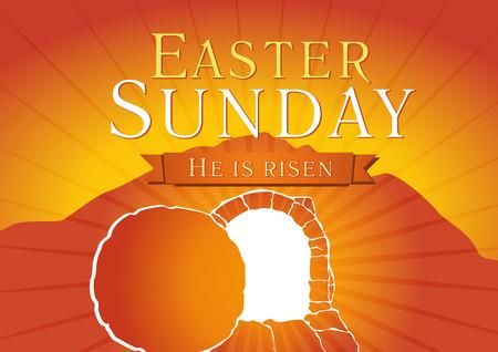 復活祭の日曜日、彼は上昇しています。挨拶、招待ベクトル カードです。カルバリー日の出、オープン照明空洞窟、輝くの中の天使から岩。宗教的