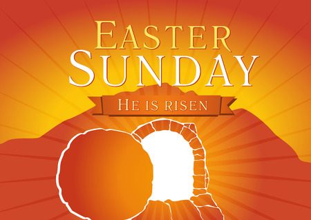 Easter Sunday, He is risen. Greetings, invite vector card. Calvary sunrise, open lighting empty cave, shining angel inside and rock off. Religious symbol. Holy week flyer. Bible story illustration.