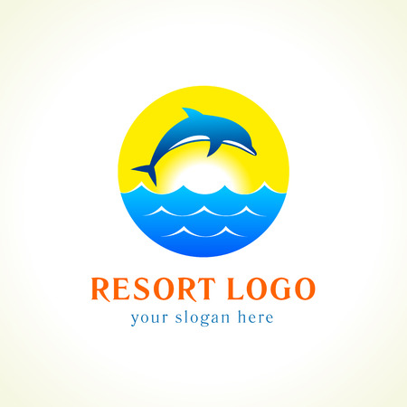 dive trip: Dolphin jumping above waves. Sea, sun, travel vector logo. Branding identity of hotels, tourist business, spa, beach service, healthcare, resort or hotel by the ocean. Summer holidays symbol.