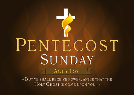 pentecost: Pentecost Sunday Acts 1,8 vector greetings. Invite or greeting dark card. Fiery flaming shining cross gold colored. Christian religious flier. Holy Spirit lighting celebrating symbol. Trinity holiday. Illustration