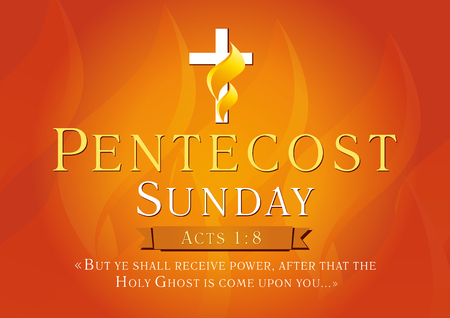Pentecost Sunday Acts 1,8 vector greetings. Invite or greeting red card. Fiery flaming shining cross gold colored. Christian religious flier. Holy Spirit lighting celebrating symbol. Trinity holiday.
