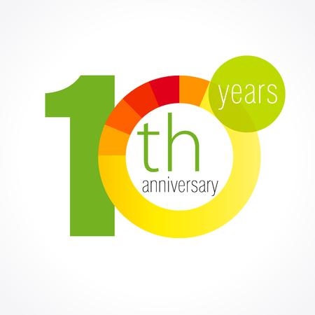 10 歳のラウンドのロゴ。10 th ベクトル グラフ テンプレート メダルの記念の年。誕生日のご挨拶円を迎えます。数字を祝っています。カラフルな数
