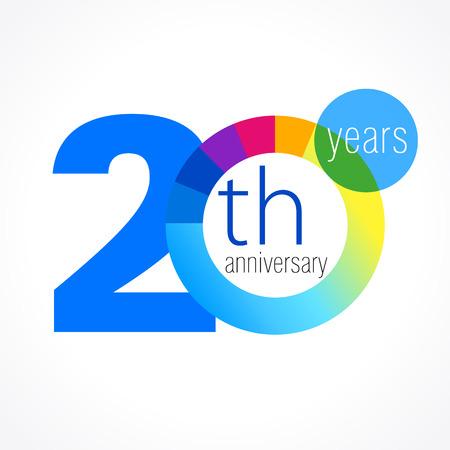20 歳のラウンドのロゴ。20 th ベクトル グラフ テンプレート メダルの記念の年。誕生日のご挨拶円を迎えます。数字を祝っています。カラフルな数