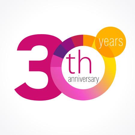 30 歳のラウンドのロゴ。30 th ベクトル グラフ テンプレート メダルの記念の年。誕生日のご挨拶円を迎えます。数字を祝っています。カラフルな数  イラスト・ベクター素材