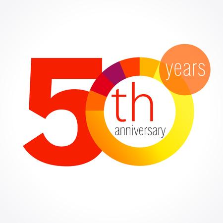50 jaar oude ronde logo. Jubileumjaar van 50 th vector grafiek template medaille. Groeten van de verjaardag cirkel viert. Vieren nummers. Kleurrijke cijfers. Cijfers van leeftijden, gesneden secties. Letter O rood.