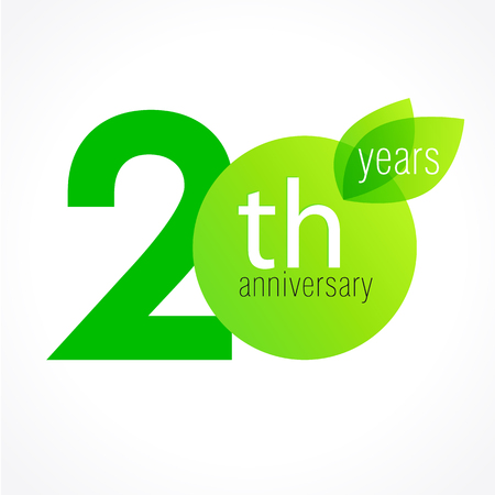 20 years old celebrating green leaves logo. Anniversary year of 20 th vector template. Birthday greetings celebrates. Environmental protection, natural products jubilee ages. Letter O with leaf.