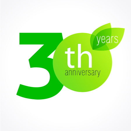 30 years old celebrating green leaves logo. Anniversary year of 30 th vector template. Birthday greetings celebrates. Environmental protection, natural products jubilee ages. Letter O with leaf. Illustration