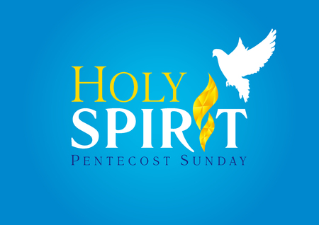 Holy Spirit Pentecost Sunday vector greetings. Fiery flaming shining glowing sign gold colored, white flying dove in sky. Christian religious invite  Trinity holiday celebrating and peace symbol. Illustration