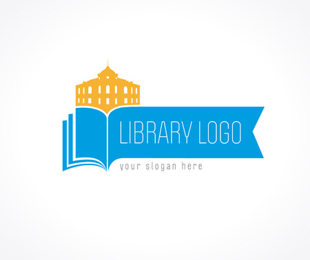 Library vector logo. University, museum, college, academy or high school educational icon. Open book with pages and old historical building vector sign. Vettoriali