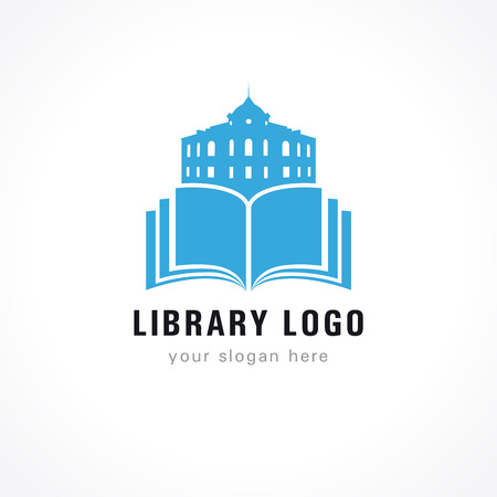 Library vector logo blue. University, museum, college, academy or high school educational icon. Open book with pages and old historical building vector sign. Vettoriali