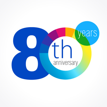 80 years old round logo. Anniversary year of 80 th vector chart template medal. Birthday greetings circle celebrates. Celebrating numbers. Colorful digits. Figures of ages, cut sections. Letter O blue.