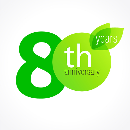 80 years old celebrating green leaves logo. Anniversary year of 80 th vector template. Birthday greetings celebrates. Environmental protection, natural products jubilee ages. Letter O with leaf.