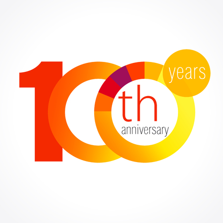 100 years old round logo. Anniversary year of the 90 th vector chart template medal. Birthday greetings circle celebrates. Celebrating numbers. Colorful digits. Figures of ages, cut sections. Letter O orange. Vectores