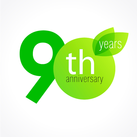 90th: 90 years old celebrating green leaves logo. Anniversary year of the 90 th vector template. Birthday greetings celebrates. Environmental protection, natural products jubilee ages. Letter O with leaf. Illustration