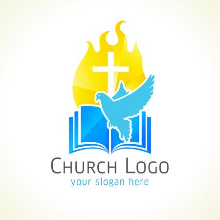 기독교 교회 벡터 로고. 골든 빛나는 십자가, 화재, 비둘기, 성경. 불 타오르는 빛나는 십자가 골드 컬러. 빛, 비행 조류, 깨진 유리 패턴입니다. 종교 교육 기호입니다. 스톡 콘텐츠 - 71355112