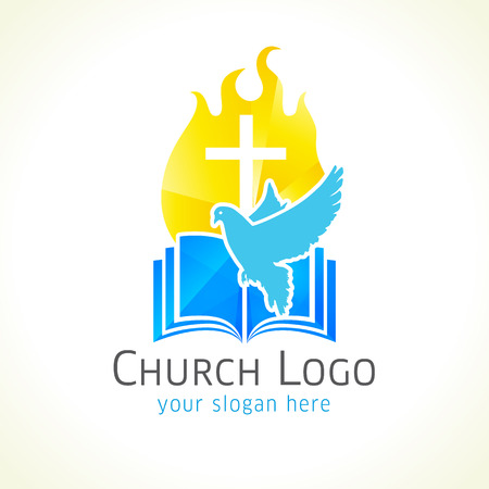 Christian church vector logo. Golden glowing crucifix, fire, dove, bible. Fiery flaming shining crucifixion gold colored. Light, flying bird, broken glass pattern. Religious educational symbol.