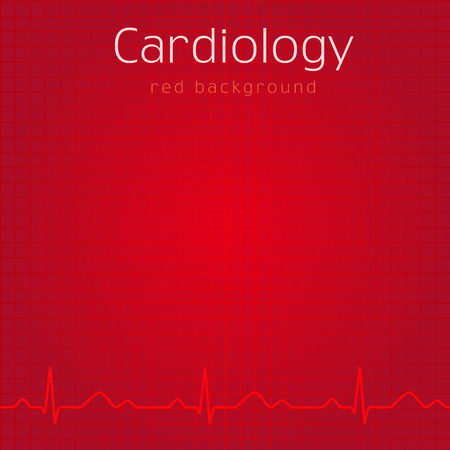 Médico de fondo rojo. Diseño de la portada de la tarjeta del paciente externo o diapositiva de la presentación. Idea de iconos para hospitales, pruebas, clínicas, farmacias. Vector cardio ondas. Gráfico de los latidos del corazón.