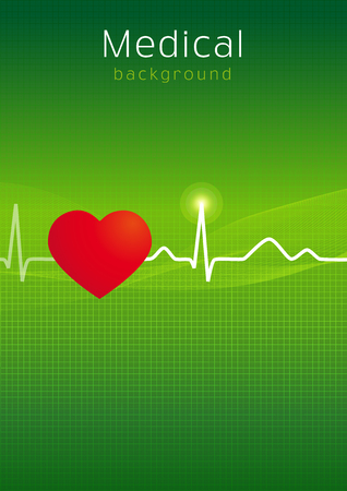 Medical folder background. Outpatient card cover design in standard paper size or presentations slide. Icons idea for hospitals, tests, clinics, pharmacies. Vector cardiowaves. Heartbeats graph. Illustration